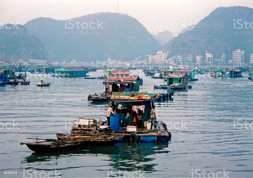 floating city halong bay vietnam stock photo