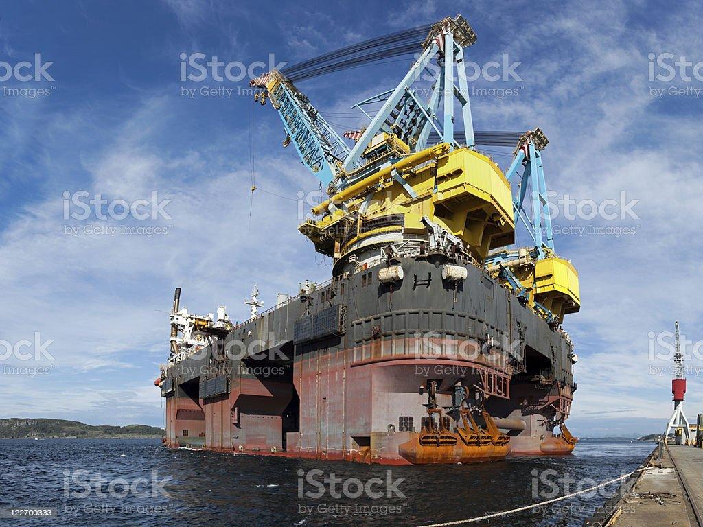 Floating crane vessel royalty-free stock photo