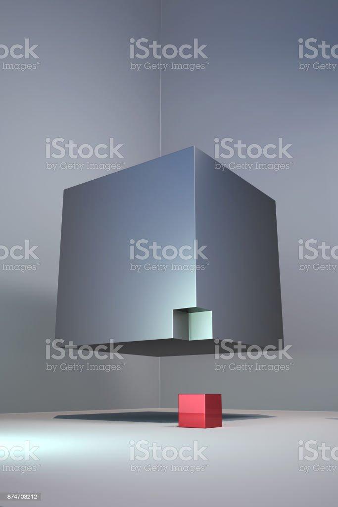 Floating cubes. stock photo