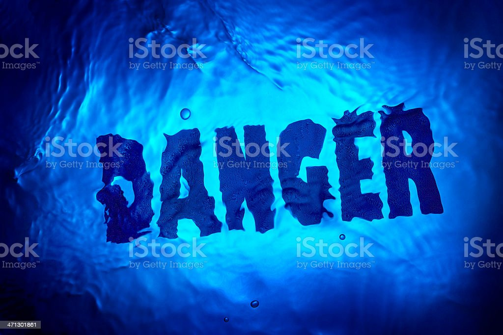Floating 'danger' text stock photo