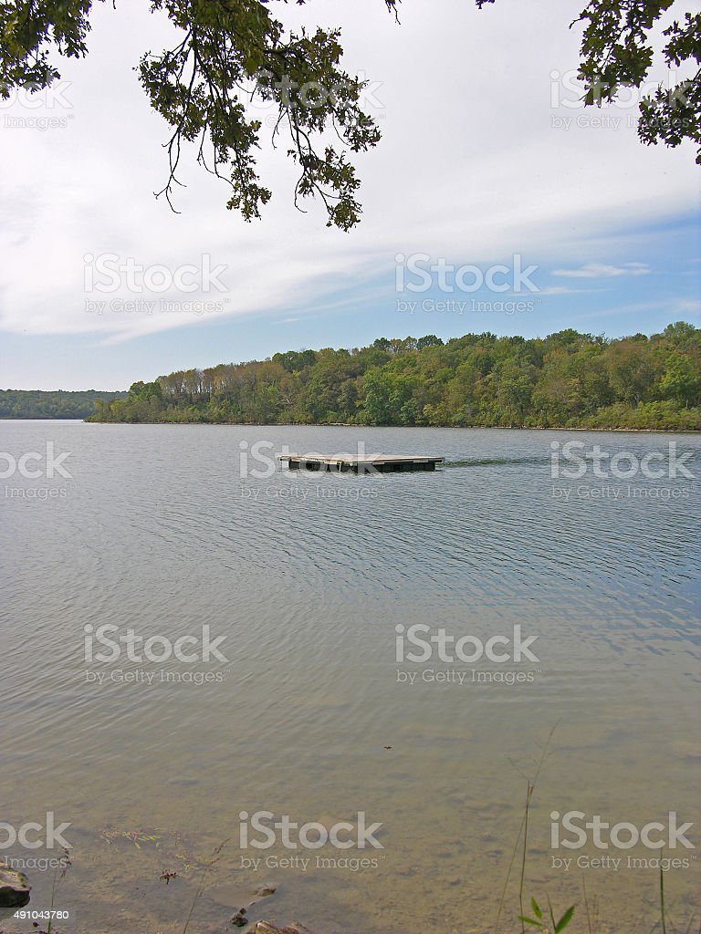 Floating Dock In Middle Of Lake Stock Photo - Download Image Now