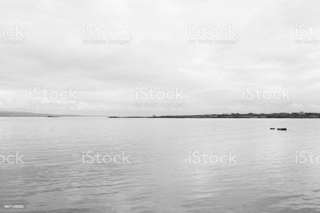 Floating Dock on Still Sea stock photo