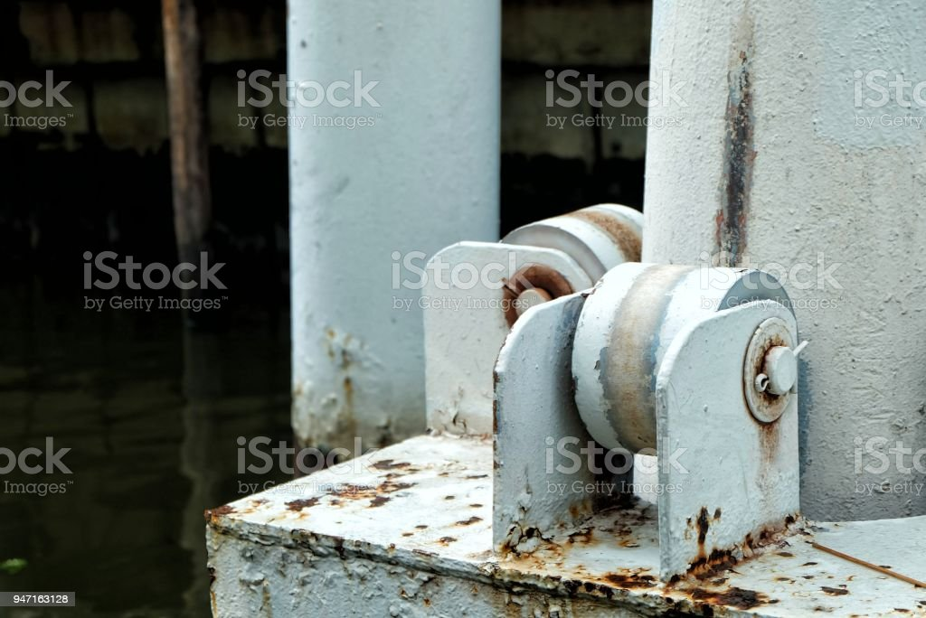 Floating Dock Pole. stock photo