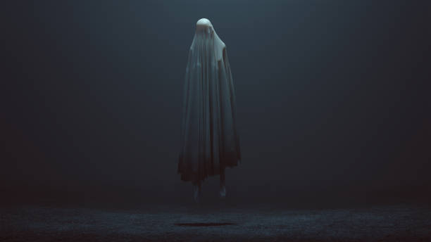 floating evil spirit in a foggy void - horror stock pictures, royalty-free photos & images