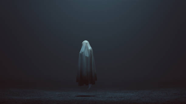 floating evil spirit of a child in a foggy void left side - demon stock photos and pictures