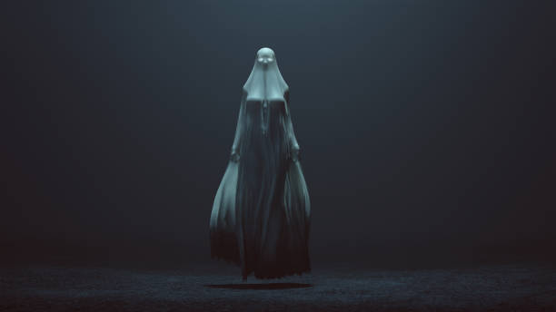 floating evil spirit with glowing eyes in a long death shroud blowing in the wind in a foggy void - monster stock pictures, royalty-free photos & images