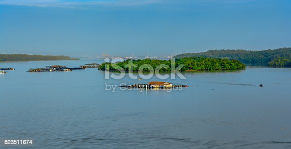 istock Floating fish farm 823511674