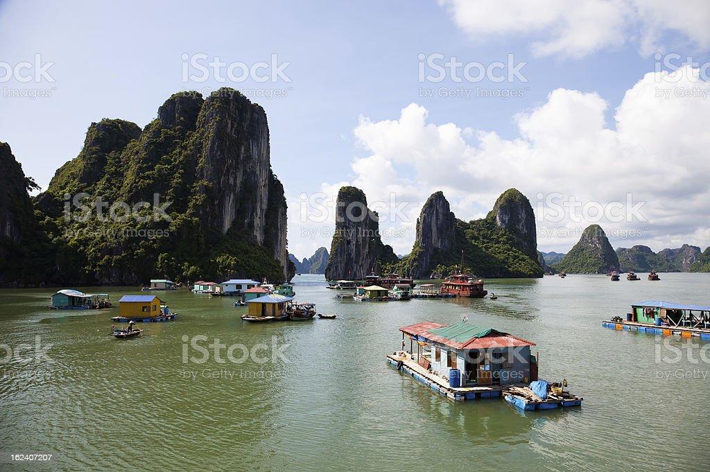 Floating fishing village in Halong Bay, Hanoi, Vietnam stock photo