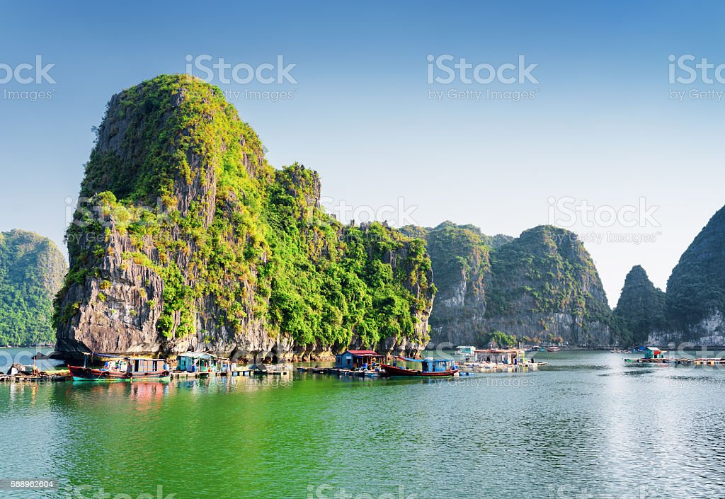 Floating fishing village in the Ha Long Bay, Vietnam stock photo