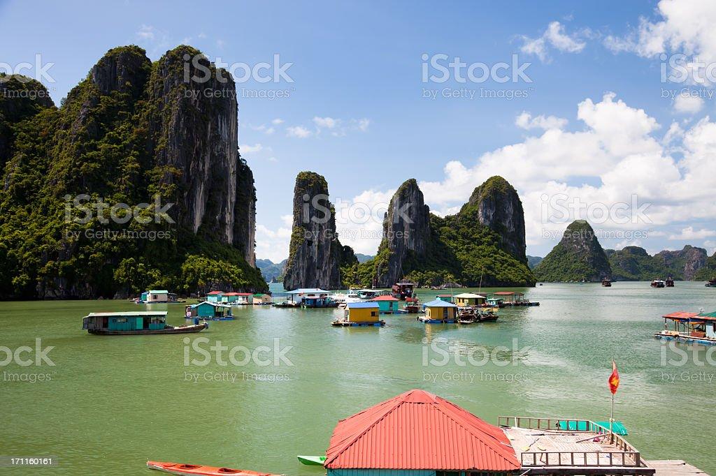 Floating fishing village on Halong Bay, Hanoi, Vietnam stock photo