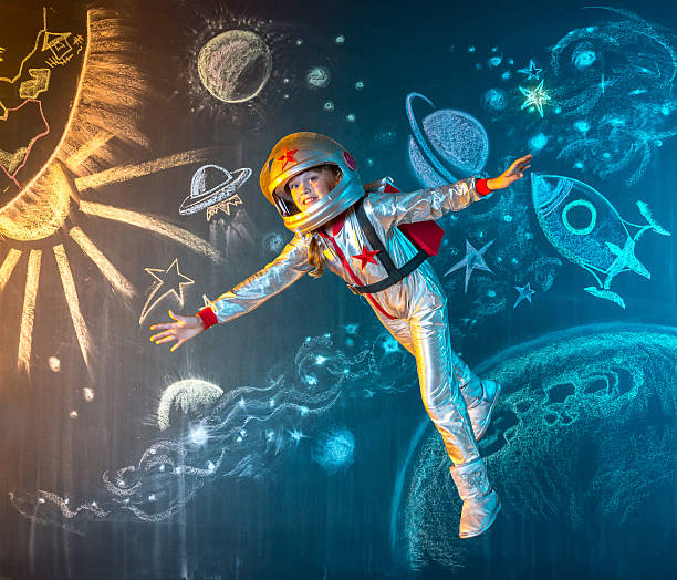 Floating free in space stock photo