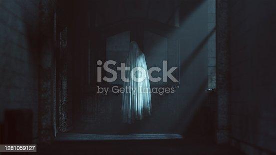 istock Floating Ghost Evil Spirit in a Derelict Asylum Hospital 1281059127