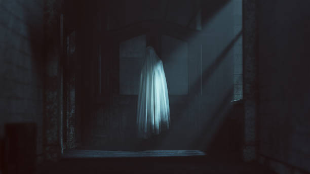 floating ghost evil spirit w opuszczonym szpitalu azylowym - upiorny zdjęcia i obrazy z banku zdjęć