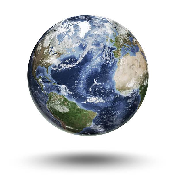 Floating globe focused on the Atlantic Ocean stock photo