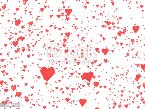 511983606istockphoto Floating Hearts Rey Colored on White Background 615894676