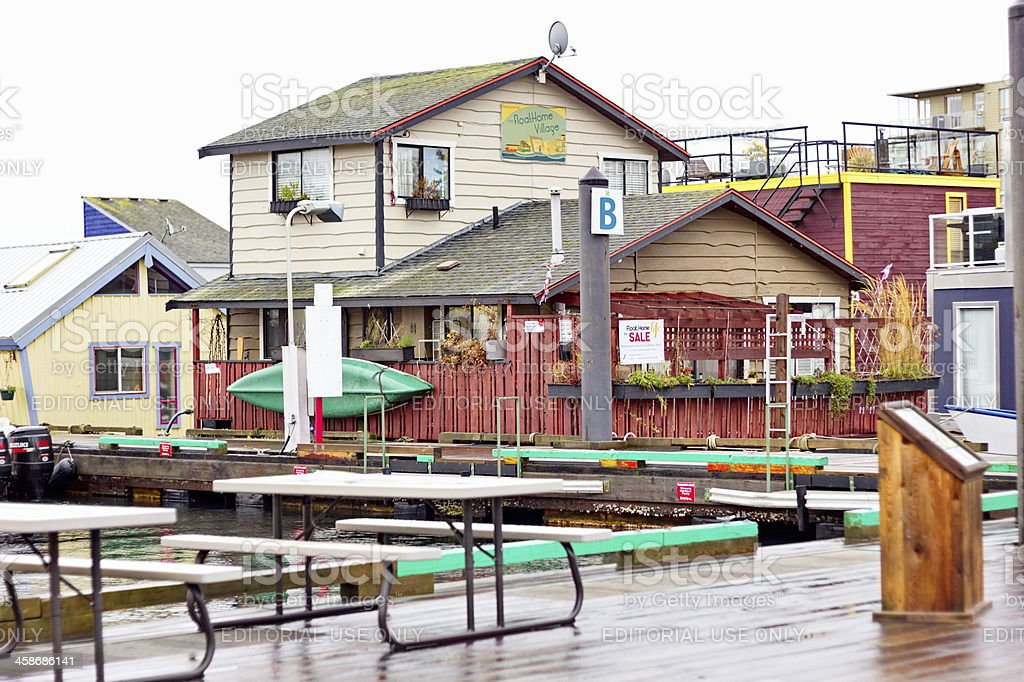 Floating Home Community in Victoria, British Columbia stock photo
