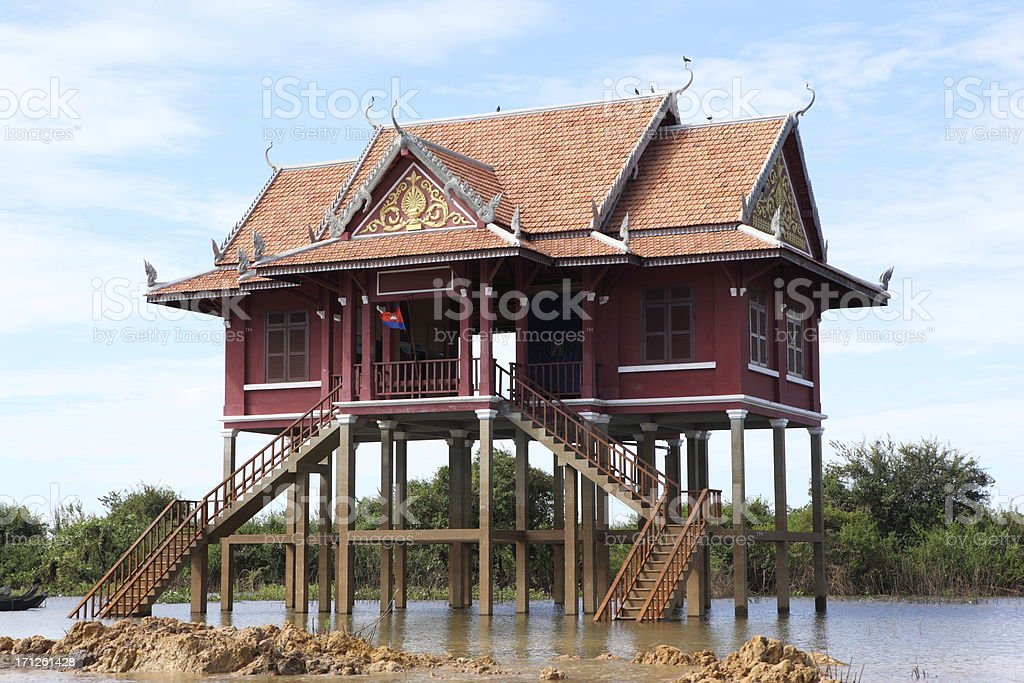 Floating home on Tonle Sap, Cambodia stock photo