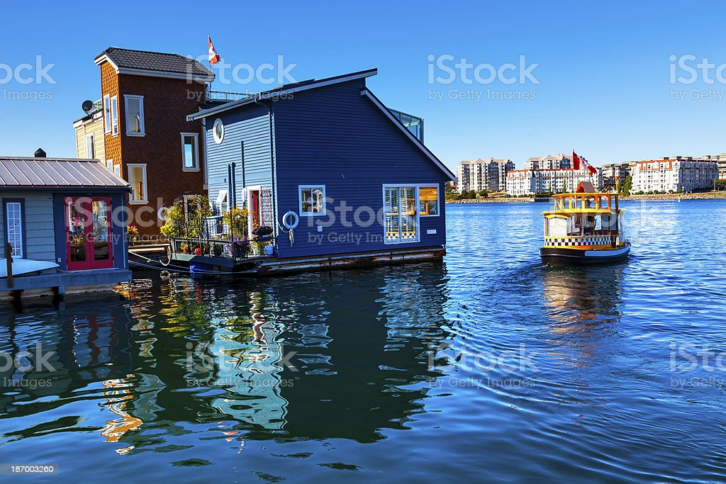 Floating Home Village Blue Houseboats Victoria British Columbia Canada stock photo