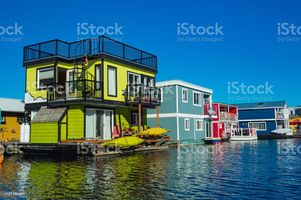 Floating Home Village colorful Houseboats Water Taxi Fisherman\'s...