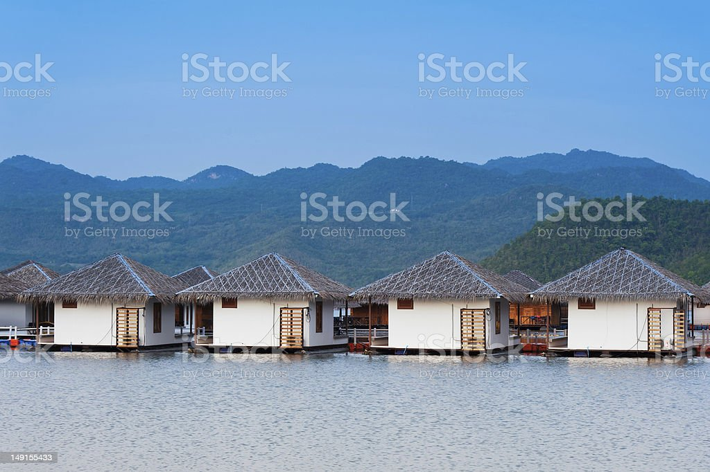 floating hotel rooms on lake. royalty-free stock photo