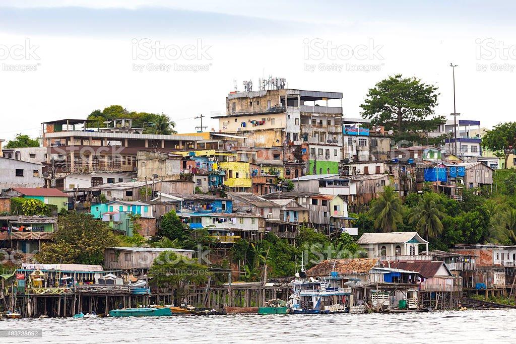 Floating houses in Manaus, Amazon, Brazil stock photo