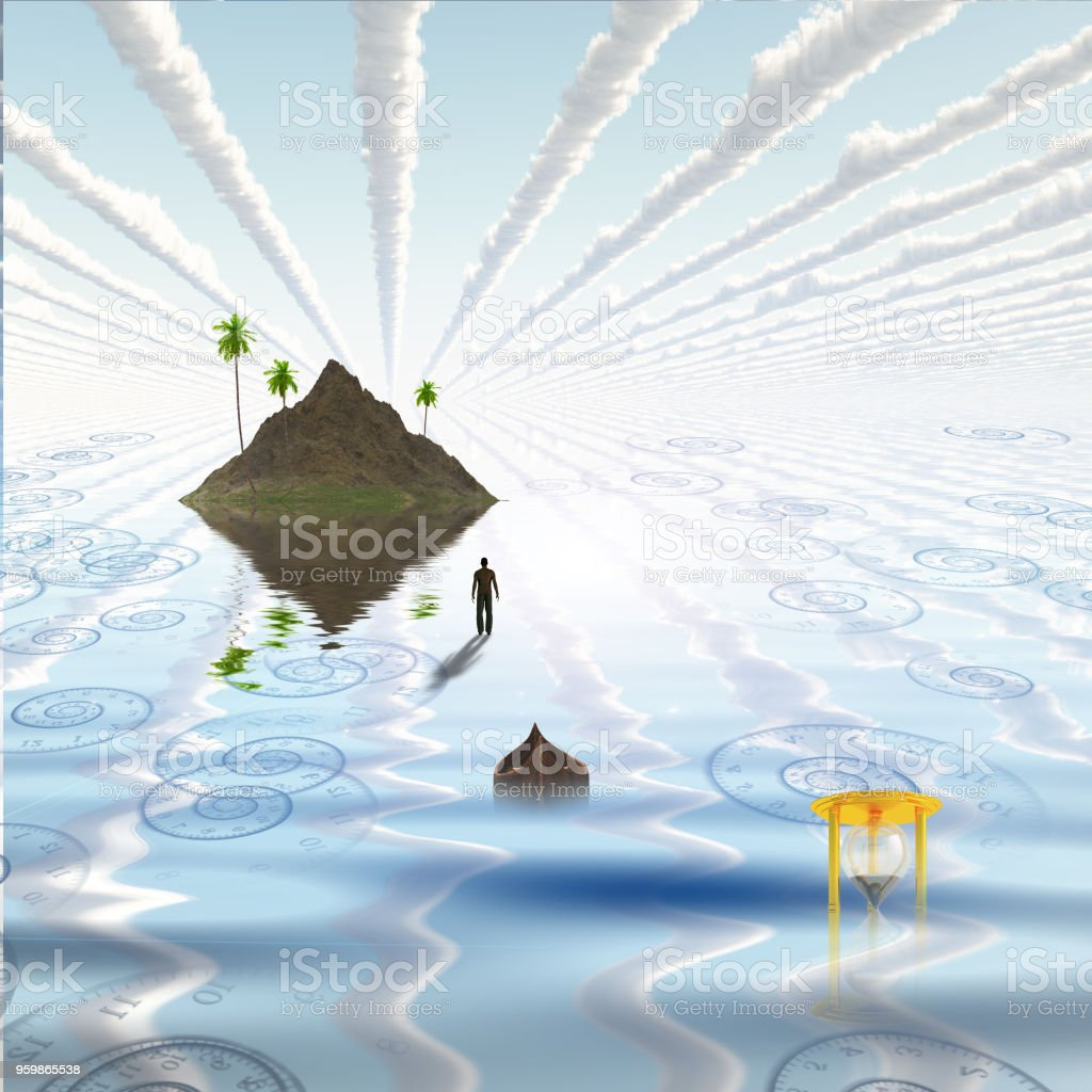 Floating island stock photo