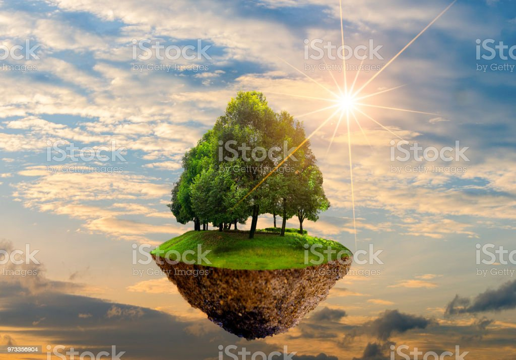 Floating islands with trees in the sky World Environment Day World...