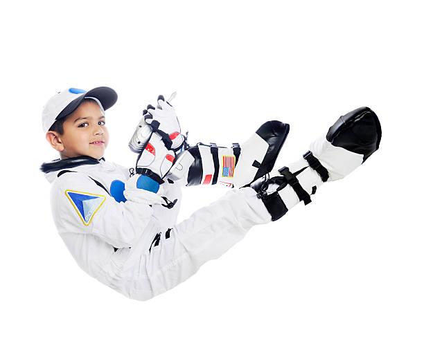 Floating Kid Astronaut stock photo