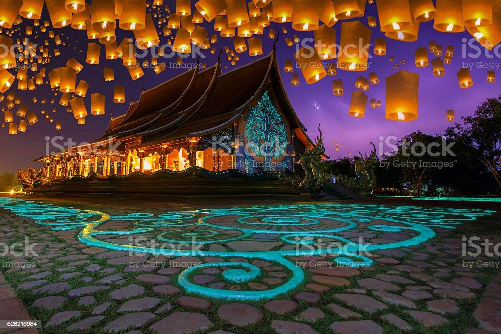 Floating lamp in yee peng festival stock photo
