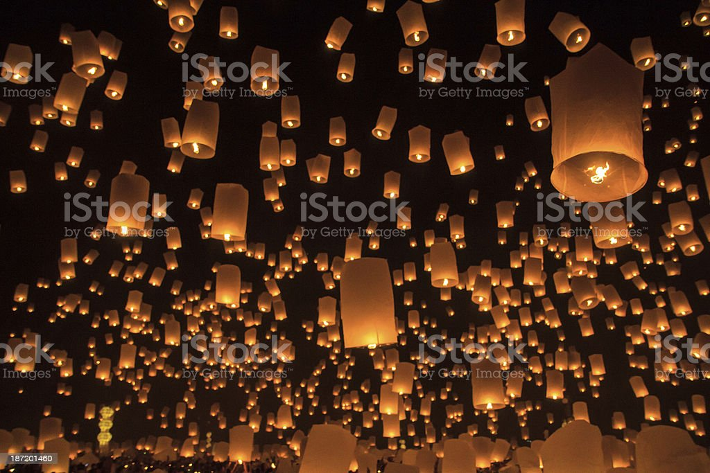 Floating lantern at Chiang Mai Province, Asia Thailand stock photo