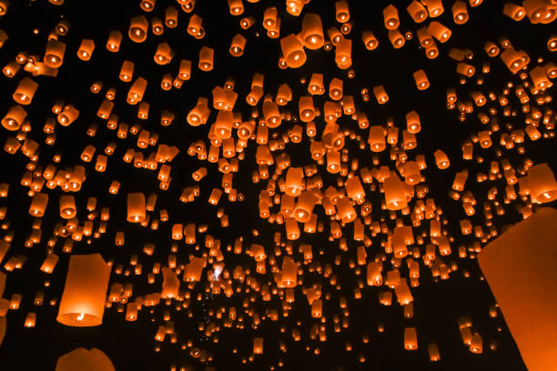 floating lantern on the sky stock photo