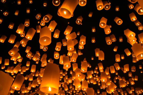 Floating lantern, Yi Peng,Firework Festival in Chiangmai Thailand stock photo