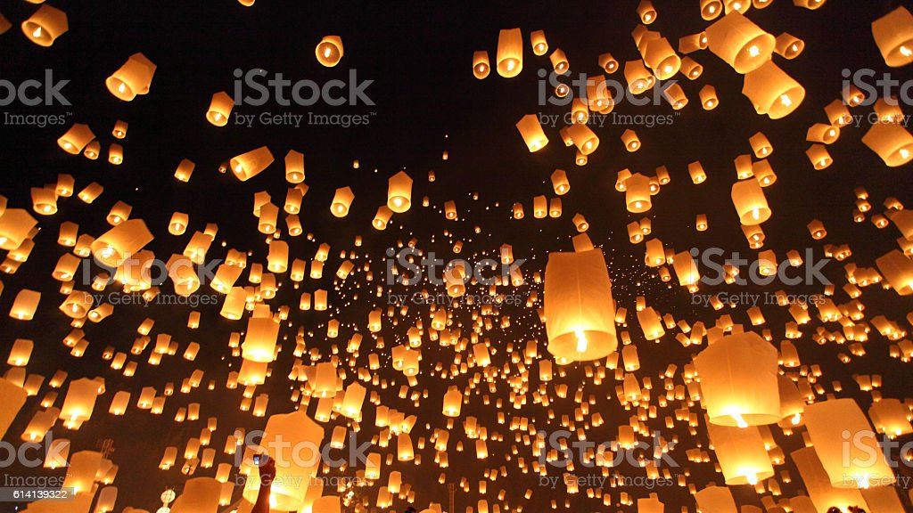 Floating lanterns ceremony or Yeepeng ceremony, traditional Lann stock photo