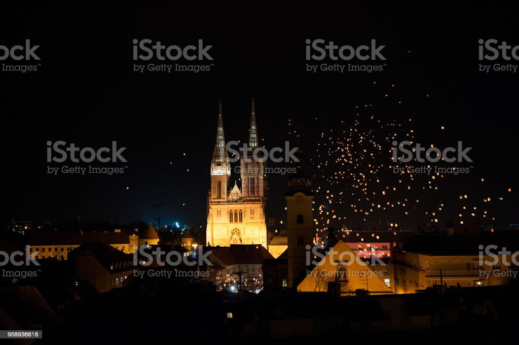 Floating Lanterns Festival In Zagreb Croatia With Cathedral In Background Stock Photo Download Image Now Istock
