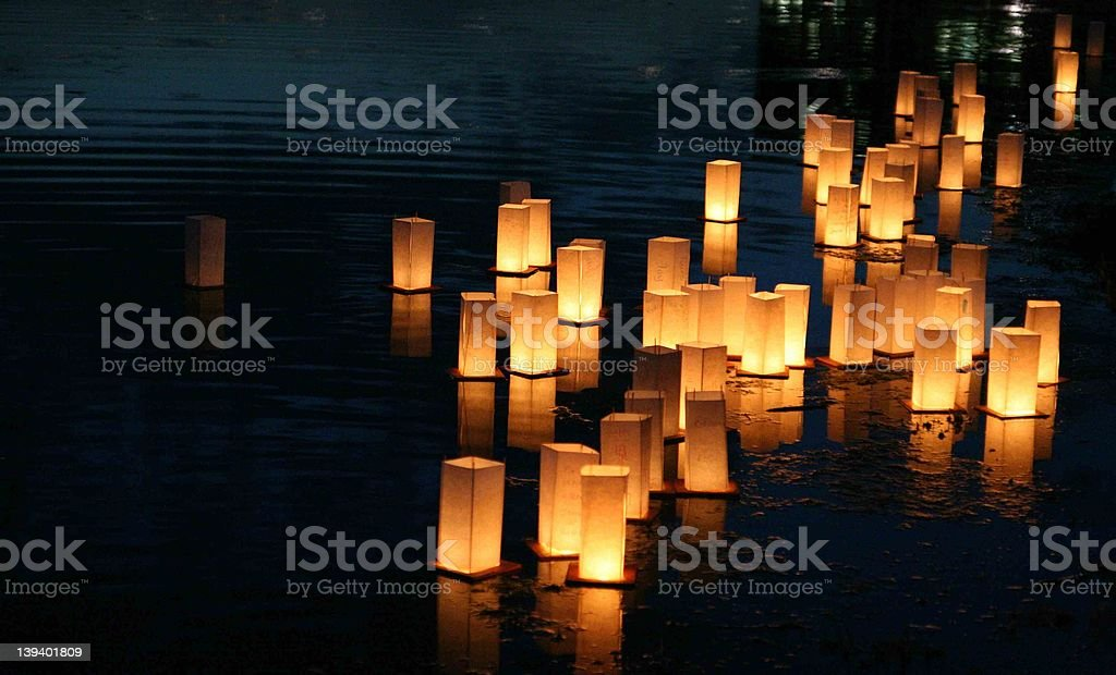 Floating Lanterns stock photo