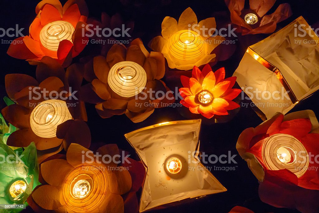 Floating Lotus Flower Paper Lanterns On Water Stock Photo More