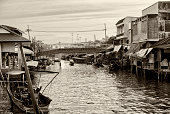 A black and white view of the floating market close to Bangkok