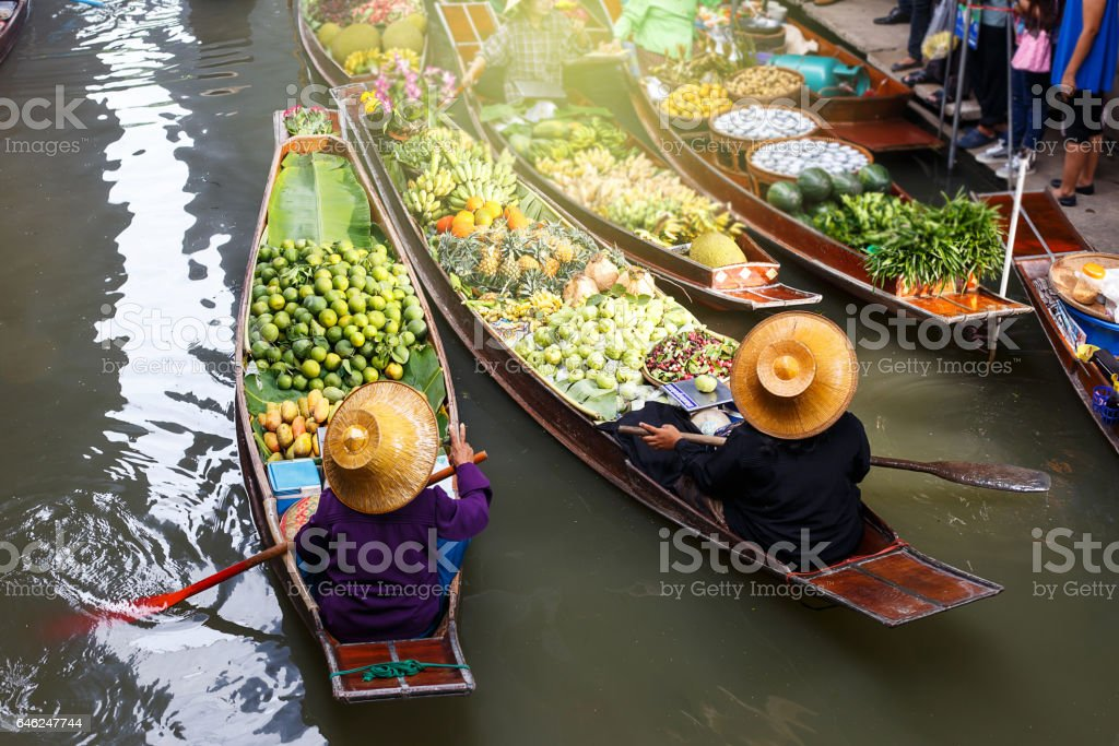 Floating market in Thailand.Damnoen Damnoen Saduak floating in Ratchaburi stock photo