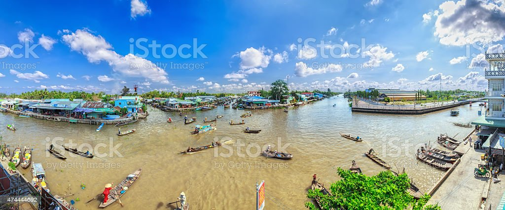 Floating Market in the morning down in summer days stock photo