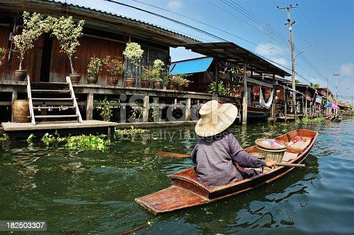 Damnoen Saduak, floating food market, Thailand.