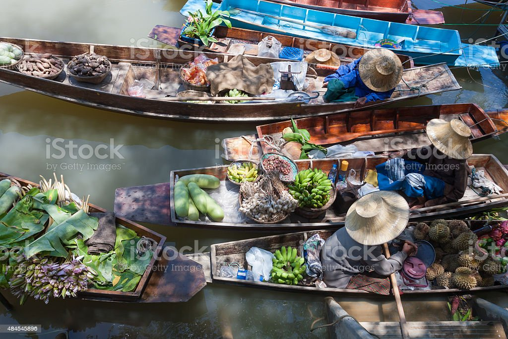 Floating market. stock photo