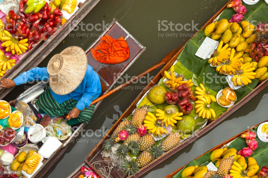 floating market thailand stock photo