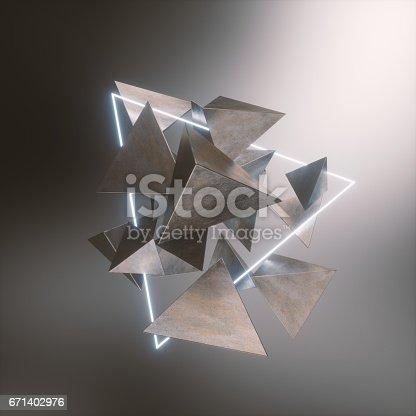 istock floating metallic pyramids 671402976