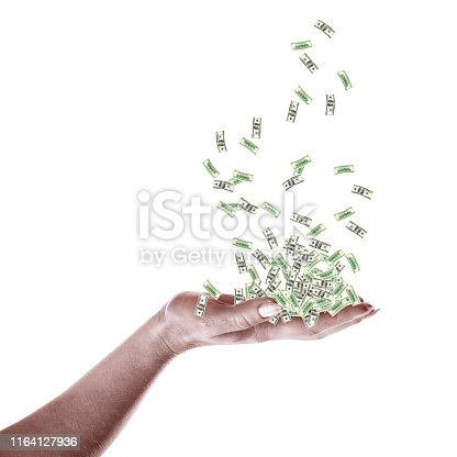 istock floating money in palm of hands isolated over white background 1164127936