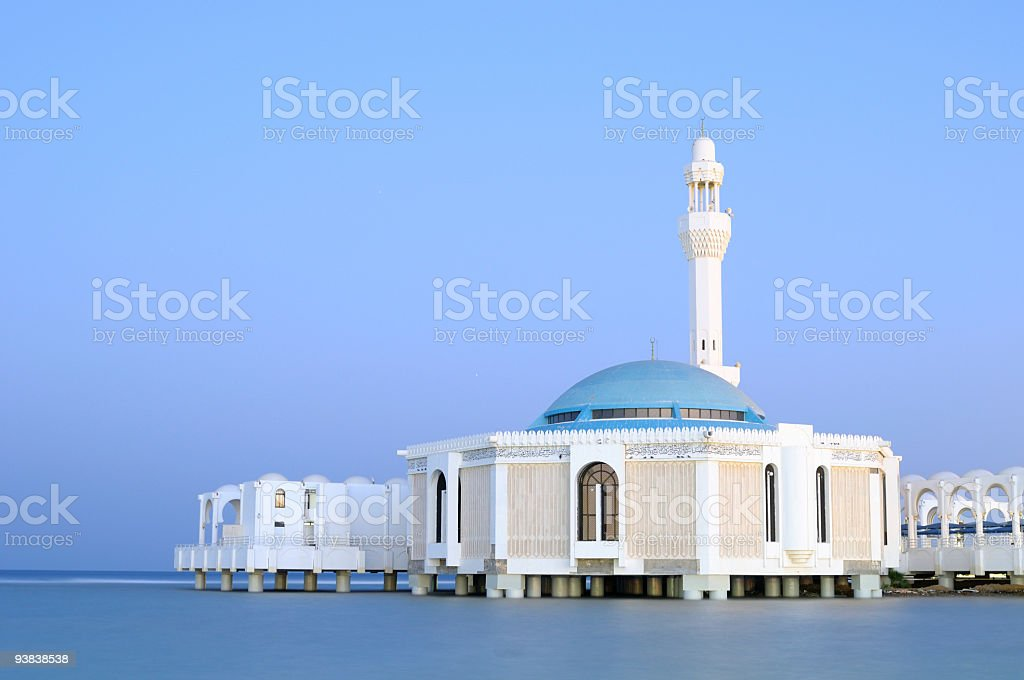 Floating Mosque By Red Sea in Jeaddh, Saudi Arabia stock photo