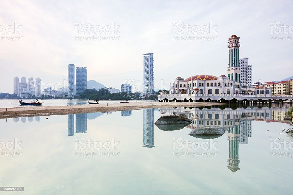 Floating Mosque Reflection in Penang, Malaysia stock photo
