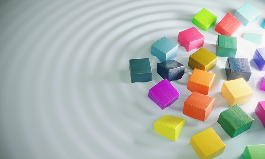 istock Floating Multicolored Wooden Blocks 1170711924