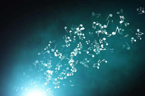 floating musical notes on an abstract blue background with flares 3d illustration - orchestra foto e immagini stock