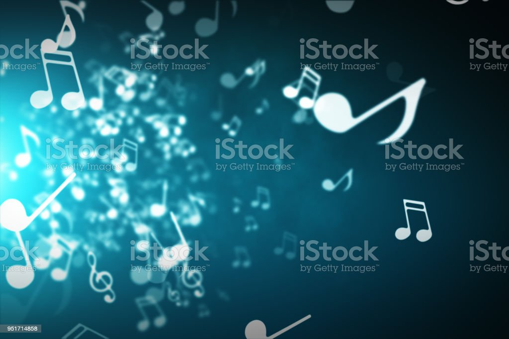 Floating musical notes on an abstract blue background with flares 3d illustration stock photo