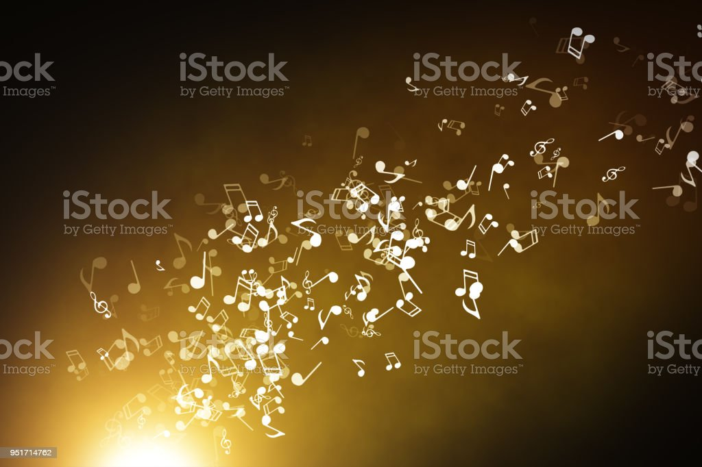 Floating musical notes on an abstract gold background with flares 3d illustration stock photo